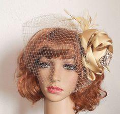 Women's Hair Fascinator,Champagne Fascinator With Birdcage Veil,Satin Flower Headpiece,Bridal Fascinator by IrmasElegantBoutique on Etsy