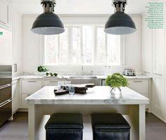 minimal white kitchen + marble detail + black accents by designer Kay Douglass via Veranda