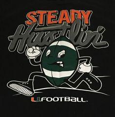 Miami Hurricanes Football Steady Hustlin X-Large Short Sleeve Tee T-Shirt XL H1 #adidas #MiamiHurricanes