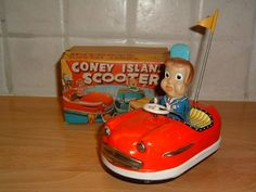 Coney Island Scooter Japan KO Vintage Wind Up Tin Litho Bumper Car 1961 Box