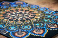 Acrylic Dot Mandala en Canvas | Etsy Mandala Canvas, Mandala Painting, Dot Painting, Mandala Art, Yin Yang, Delphinium Flowers, Hanging Hearts, Wooden Hearts, Mandala Design
