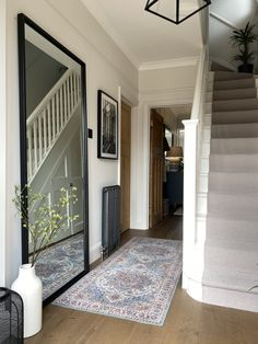 Hallway Paint, White Hallway, Tiled Hallway, How To Paint Hallways, Paint Doors White, White Wall Paint, White Walls, Hearth Tiles, Gallery Wall Staircase