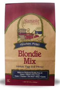 Namaste Foods Blondie Mix Use egg replacer instead of eggs. I get these at Whole Foods. Gluten free!