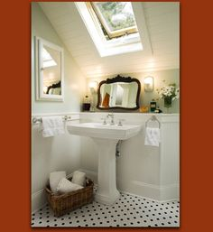 Traditional Bathroom Attic Bathroom Design, Pictures, Remodel, Decor and Ideas Traditional Bathroom, Bathroom Solutions, Home, Small Attic Bathroom, White Floors, Mint Bathroom, White Tile Floor, Bathroom Design, Beautiful Bathrooms