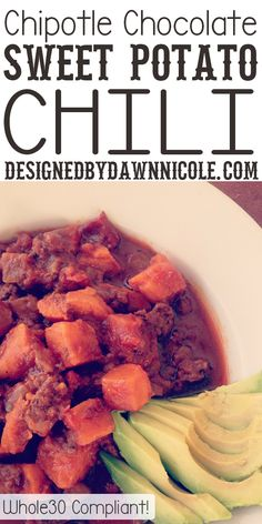 Slow-Cooker Chipotle Chocolate Sweet Potato Chili {Whole 30 Compliant} I really liked this, it had great flavor and was easy to put together and my whole family enjoyed it even though it was paleo YES! Whole 30 Soup, Whole 30 Diet, Paleo Whole 30, Whole 30 Recipes, Paleo Recipes, Slow Cooker Recipes, Real Food Recipes, Cooking Recipes, Crockpot Ideas