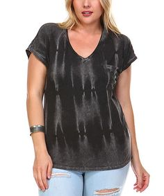 Another great find on #zulily! Black & White Tie-Dye V-Neck Tee - Plus #zulilyfinds