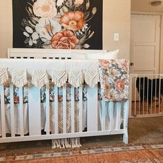 """Our natural macrame baby crib rail cover measures approximately 52"""" long by 12"""" wide (6 inch drop) with a 1-inch poly-fiber hypoallergenic batting fill. There are three approximately 12"""" inch ties on each crib rail to secure the rail covers to the crib. Please note our crib rail covers are sold individually so make sure you purchase two if you want one for the front and back rail. Our crib rail covers are reversible with same or coordinating fabric. Personalize it with a monogram on mid"""