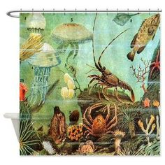 Lovely Vintage Colorful Sea Creatures Shower Curtain
