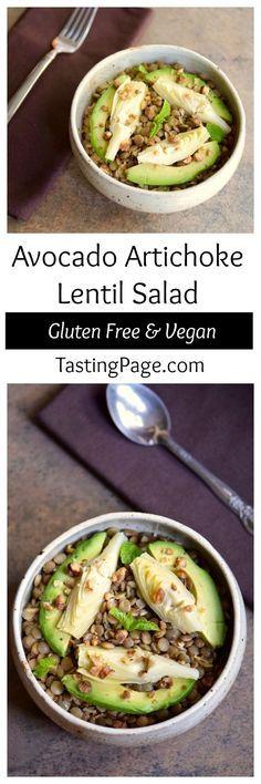 Avocado Artichoke Lentil Salad - gluten free, dairy free and vegan   http://TastingPage.com