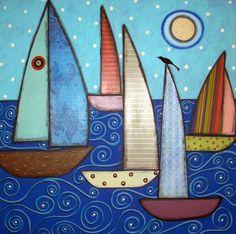 Rug Hook Paper Pattern 5 SAILBOATS & A BIRD Folk Art Abstract Primitive KARLA G | eBay