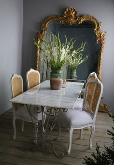 #antique dining table: love the table AND chairs #diningroom #canechairs #gold #french