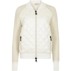 Womens Casual Jackets Moncler Cream Bouclé And White Shell Jacket ($1,020) ❤ liked on Polyvore featuring outerwear, jackets, quilted jacket, zip jacket, white zip jacket, white quilted jacket and moncler