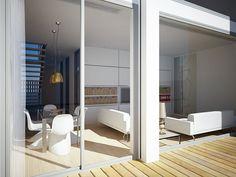 chiralt arquitectos i terraza y comedorsaln con mobiliario minimalista en vivienda moderna