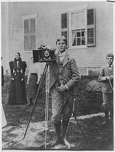 """One night at a dinner party, FDR was regaling guests with a premise for a mystery novel. At that party was magazine editor Fulton Oursler, who after hearing the President, hired professional mystery writers to adapt it into the 1936 movie entitled """"The President's Mystery"""". This picture heralding film making is FDR age 15 in Fairhaven Massachusetts in September 1897. Image courtesy of the Franklin D. Roosevelt Library. National Archives Identifier: 195498"""