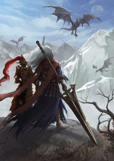 Ornstein and Nameless King Sif Dark Souls, Arte Dark Souls, Dark Fantasy Art, Sci Fi Fantasy, Fantasy Artwork, Ornstein Dark Souls, Comic Collage, Soul Saga, Bloodborne Art