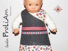 Robe bébé trapèze, chasuble, cache cœur, portefeuille, croisée ♥ 3 mois, robe tendance et moderne fabriquée en France : Mode Bébé par lulu-proliam