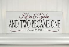 """Personalized Wedding Gift for Couples - Wood Sign with Couples Names, Established Date & Love Quote """"and two became one"""" -Romantic Gift Idea..."""