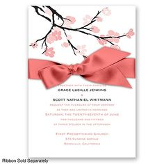 Budding Beauty - Watermelon - Invitation | Invitations By David's Bridal