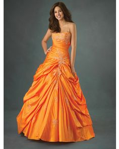 Strapless Floor Length Orange Quinceanera Dress - Vuhera.com