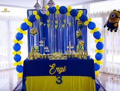 Ergi `s Birthday /  Minions <3  Decor & Photo @chamocreative  Rezervo Inbox dhe +377 44 446 646 . . #ergi #happybirthday #birthday #minions #balloons #decoration #eventdecor #eventplanner #detail #decorations #decor #cake #minionsparty #juice #giftbox #gift #birthdayparty #event #handmade #chamocreative #beautiful #loveit #lovedecor #awesome #sweet decoration #decor #cake #event #sweet #juice #loveit #giftbox #birthday #lovedecor #detail #ergi #happybirthday #minions #handmade #chamocreative… Minion Theme, Minion Birthday, Minion Party, Diy Birthday, Graduation Party Decor, Birthday Party Decorations, Diy Photo Booth Backdrop, Baby Party, 2nd Birthday Parties