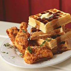 Recipe for Fried Chicken and Waffles - This sweet 'n' savory pairing gained prominence in the jazz-club era when patrons flooded the streets in the wee-hours—some hungry for dinner, others craving breakfast. The satisfying combination has something to please every palate.