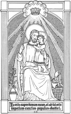 Classic illustration of St. Joseph and the Child Christ Catholic Religion, Catholic Art, Catholic Saints, Religious Icons, Religious Art, Nativity Coloring Pages, Coloring Books, Gothic Revival Architecture, Bible Illustrations