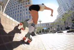 La marque de roulement Bones Bearings a fait faire une démonstration de roller par Michelle Stein, alias Estro Jen, sur des spots de skate