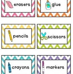 chevron labels for kids toys/school supplies! How cute! #organize #labels