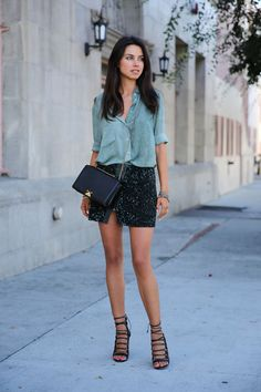 teal All Saints skirt - black armani bag - turquoise blue Ready to Fish blouse