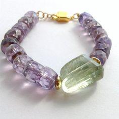 Amethyst Bracelet Gold Bracelet 14k Gold by jewelrybycarmal, $65.00 Soooo Pretty!