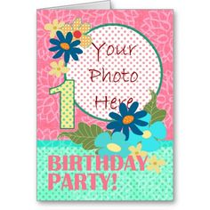 One Year Old, Birthday Party Invitation Photocard