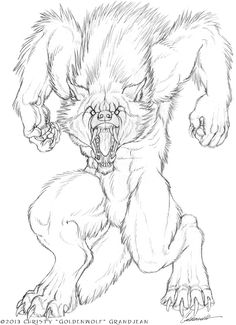 "Drawing commission for SilverFoxWolf of his werewolf character Silver getting pounced by a female werewolf. She is not a child, she is a normal-sized female, and Silver is a BIG wuff. Pencil on 9"" ..."