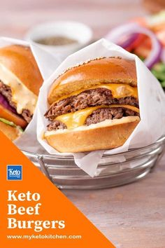 Our Keto Beef Burger Patty Recipe is simple, easy to make and delicious. They are ready to eat in less than 20 minutes for a quick dinner or lunch! These beef burgers are gluten free, grain free, dairy free (f you skip the cheese) and low carb. They are ideal for carnivores or anyone who loves burgers. Best Gluten Free Recipes, Good Healthy Recipes, Popular Recipes, Low Carb Recipes, Real Food Recipes, Beef Burger Patty Recipe, Keto Burger, Beef Burgers, Grain Free