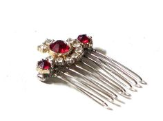Regal Red Rhinestone Hair Jewelry, Ruby Crystal Hair Comb, Prom Queen Accessories on Etsy, $22.66 CAD