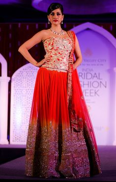 from Adarsh Gill's Collection at Aamby Valley IBFW, 2013 Indian wedding clothes.  Red lehenga