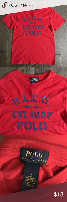 7yrs Boys Ralph Lauren Polo Red T-shirt *Gently used, great condition *Clean, stain free  *Smoke and pet free *No holds/trades Polo by Ralph Lauren Shirts & Tops Tees - Long Sleeve