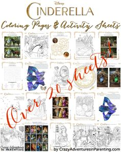 The NEW Disney's Cinderella Coloring Pages and Activity Sheets from the new movie! Over 20 awesome sheets, coloring pages, and crafts!