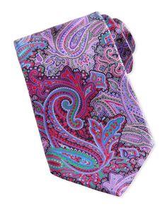 Ermenegildo Zegna Quindici Paisley-Print Silk Tie, Brown - Neiman Marcus.