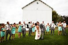 Wedding Idea, love the mint color an the guys in suspenders