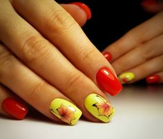 Autumn nails with leaves, Bright red nails, Insanely beautiful nails, Leaves nails, Multi-color nails, Two color nails, Yellow gel polish, Yellow nails
