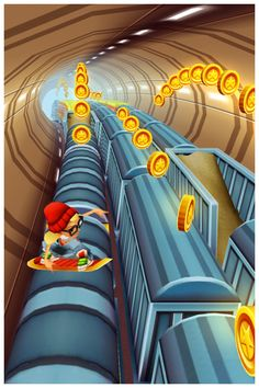 Subway Surfers, my favourite mobile game ever, brings 3D graphics and great animation to freemium casual gaming on the iPhone. In this game, the virtual and physical playspace are similar - it's a game about trains that you play when commuting.