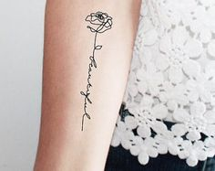 2 rose lettering temporary tattoos / word temporary tattoo /rose temporary tattoo / calligraphy temporary tattoo / single line tattoo