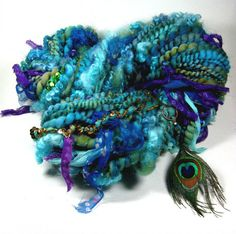 Peacock Strut Super Bulky Art Yarn for weaving by yarnwench, $82.00