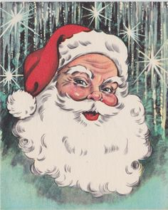 A vintage Christmas card featuring jolly St. Nick in good unused condition. Made in the USA. Card is 5.5 length by 4.5 wide. Inside: Merry Christmas