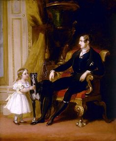 Prince Albert with his eldest daughter Princess Victoria and Eos the greyhound, John Lucas 1841.