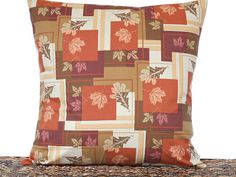 Fall Leaves Pillow Cover Cushion Autumn Rustic by PookieandJack