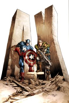 Captain America and Cable by Mike Deodato Jr., colors by Rain.  Auction your comics on http://www.comicbazaar.co.uk