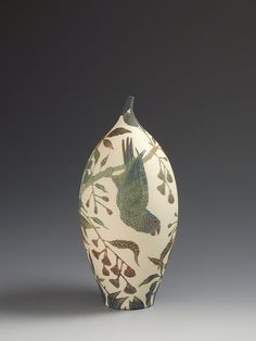 Musk Lorikeets & flowering Gum tree Sgraffito vessel which was created totally by hand Judas Tree, Plant Insects, Spotted Woodpecker, Cattleya Orchid, Ruby Throated Hummingbird, Beech Tree, Pottery Sculpture, Sgraffito, Blue Bird