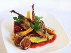 Petite Angelica with Herb Crusted Roasted Quail, Sauteed Baby Squash, Beet & Goat Cheese Cous Cous, Fresh Figs