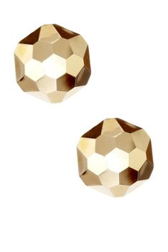 14k faceted dome earrings.